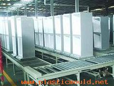 refrigerator production line and related equipemnt for manufacturing the fridge in each step