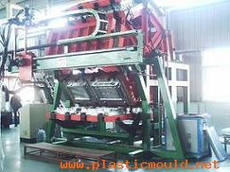 refrigerator door body foaming machine with seven jigs rotary along the rail frame