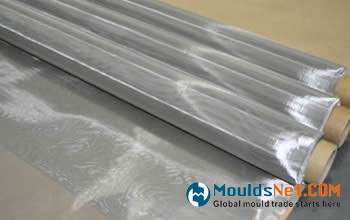 Three rolls of stainless steel woven wire cloth.