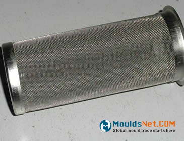 A stainless steel woven wire filter tube on the floor.
