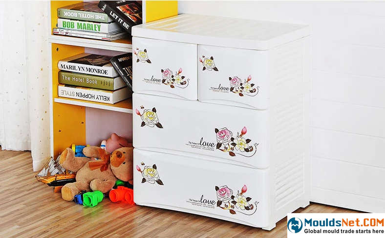也雅 玫瑰花印花加厚塑料抽屉储物柜婴儿柜子宝宝衣柜整理收纳柜-tmall.com天猫