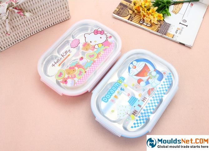 包邮 可爱卡通学生餐盘 不锈钢分隔便当盒 女士儿童密封带盖饭盒-淘宝网