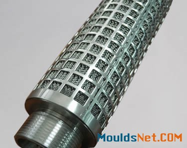 A pleated candle filter with a perforated layer.