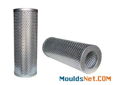 Two perforated cylindrical filter elements on a white background.